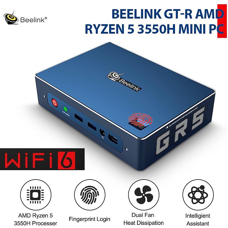Beelink GTR AMD Ryzen 5 3550H Radeon Vega 8 Graphics WIFI 6 MINI PC 16GB 512GB 1TB Fingerprint Login Windows 10 Gaming TV BOX